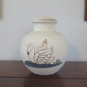 Vintage Lorac Etched and Hand Painted Pottery Vase